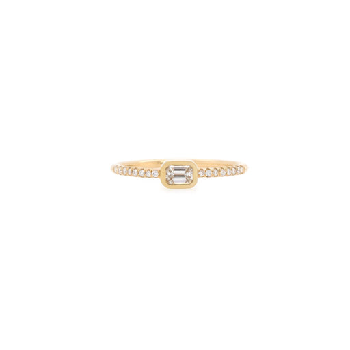 14k Gold Bezel Set Emerald-Cut Diamond Ring