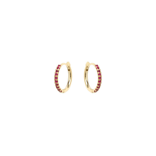 14k gold pave ruby medium hinge huggie hoops
