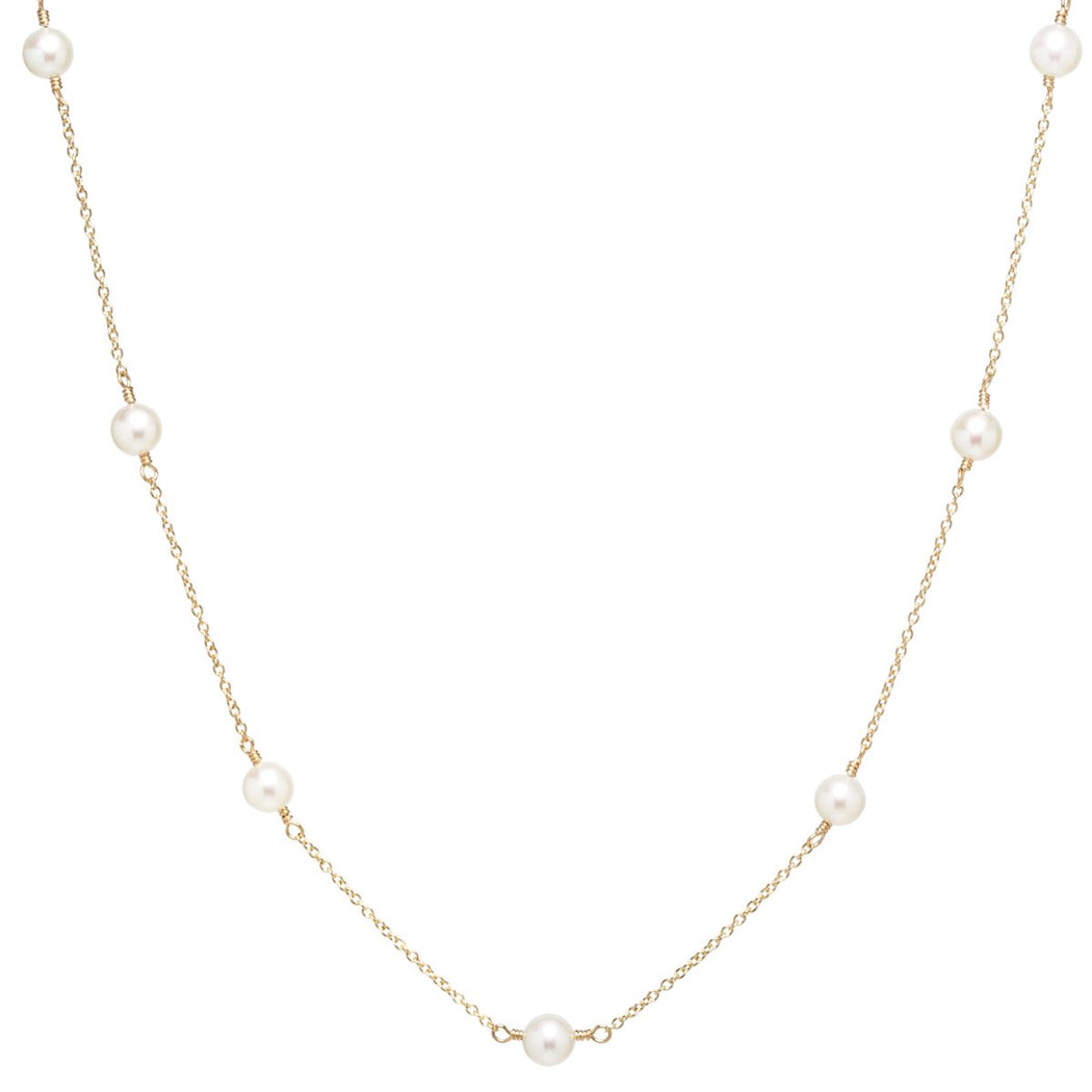 14K Gold 4mm White Freshwater Cultured Pearl Necklace