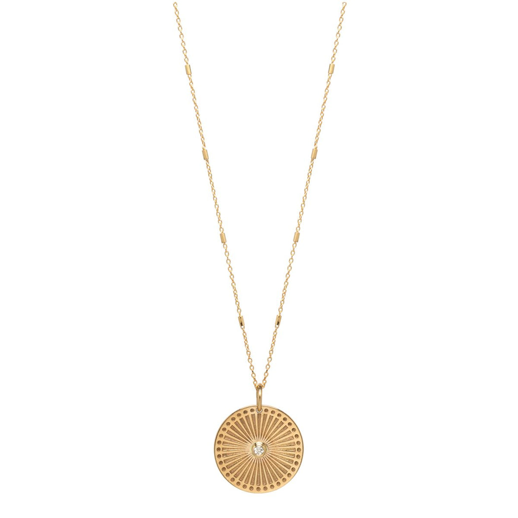 14K Gold Small Sunbeam Medallion Necklace