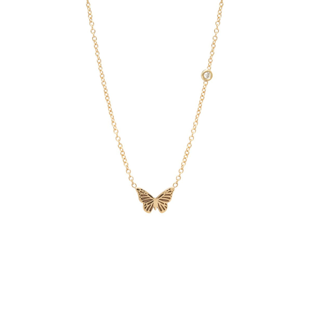 14K Gold Itty BItty Centered Butterfly Necklace