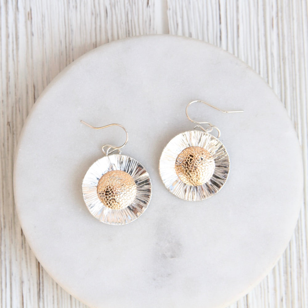 Etched Sterling Silver and Gold Filled Disc Earring