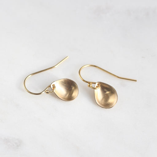 Tiny Gold Filled Cupped Teardrop Earrings
