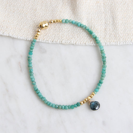 Single Kyanite Heart Briolette & Amazonite Bracelet