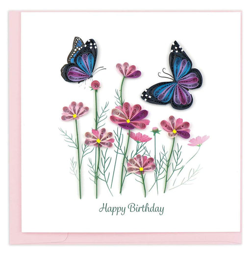 Large Flowers & Butterflies Birthday Card