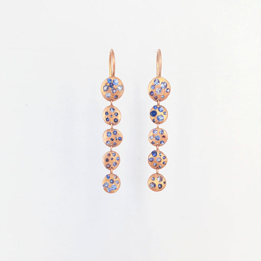 POLLY WALES LONG  ROSE GOLD BLUE SAPPHIRE EARRING