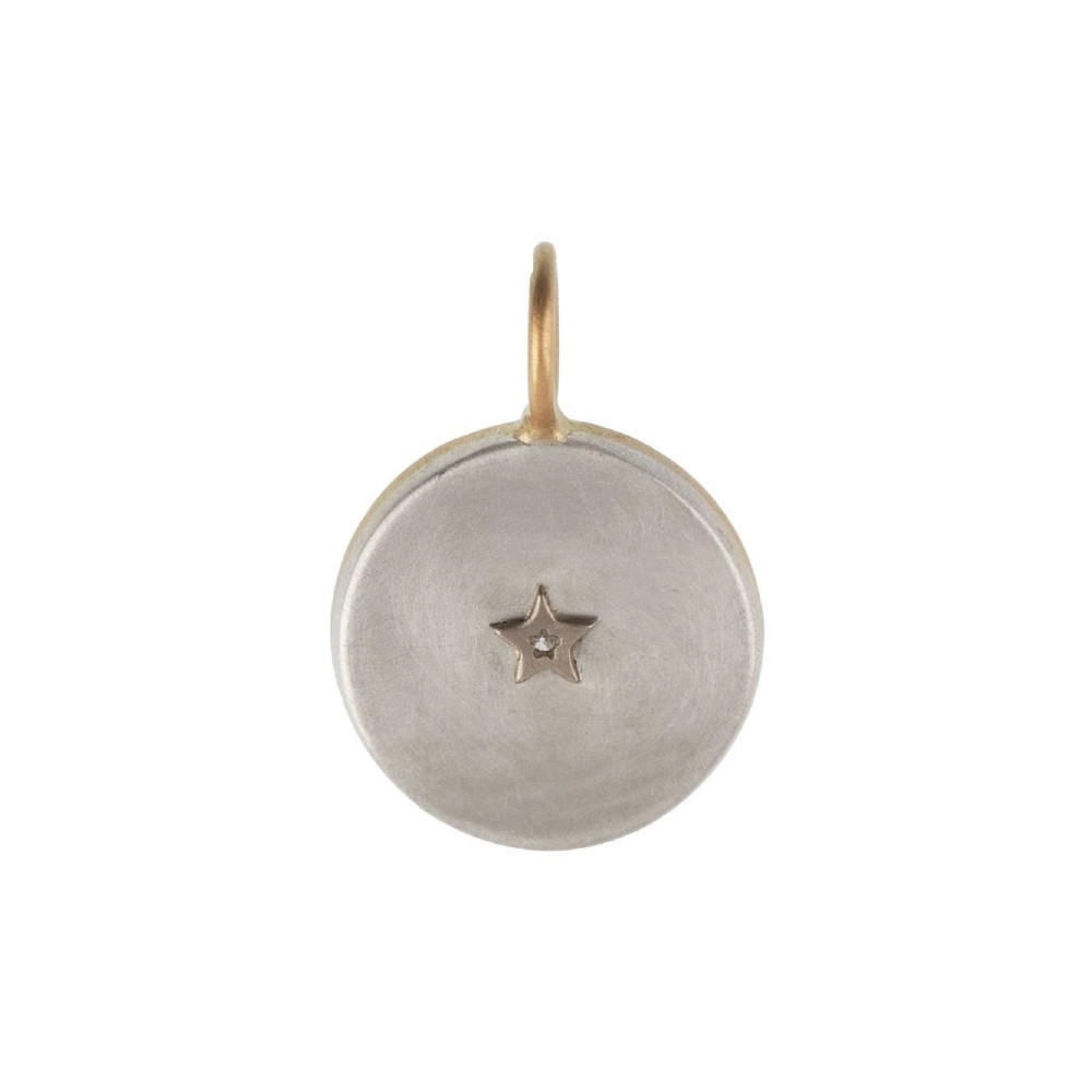 Silver Compass Charm with 14k Gold Frame & Center Diamond