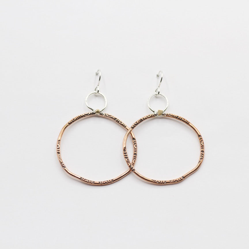 Large Decorated Copper Hoops