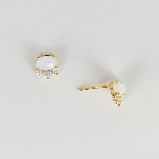 ROSE CUT OVAL MOONSTONE EARRING