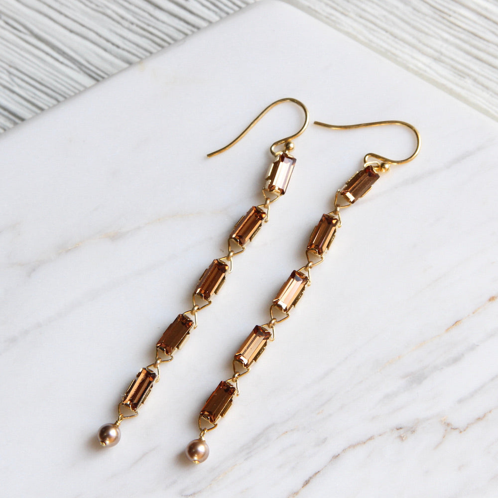 Light Smokey Topaz Crystal Linear Earring