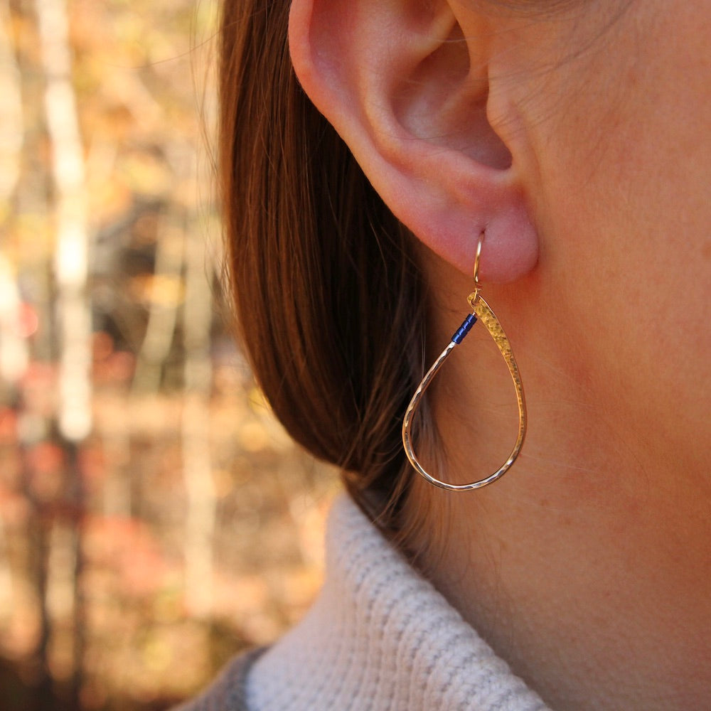 Gold Filled Teardrop With Blue Beads Earring