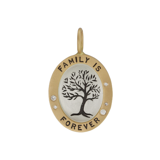 "Gold & Silver ""Family is Forever"" Tree Charm with Diamonds"