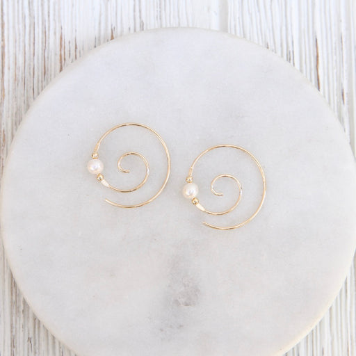 Gold Filled Coil with Pearls Earring