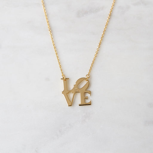 Polished Gold Vermeil LOVE Sculpture Necklace