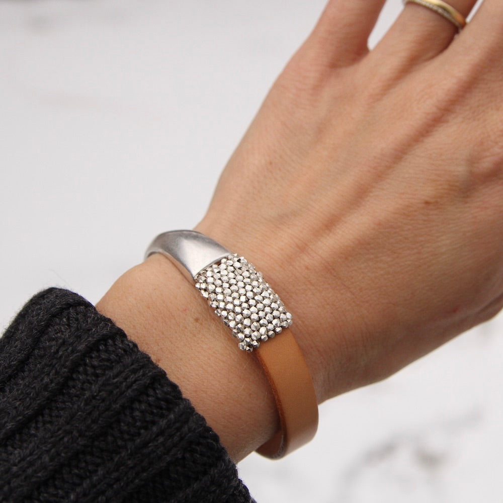 Medium Tiny Sterling Silver Cubes 1/2 Cuff