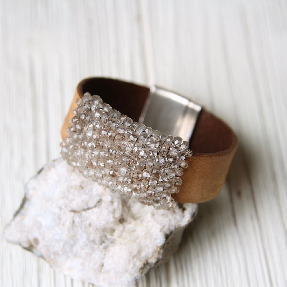 Hand Cut Natural Zircon Hand Stitched Leather Cuff