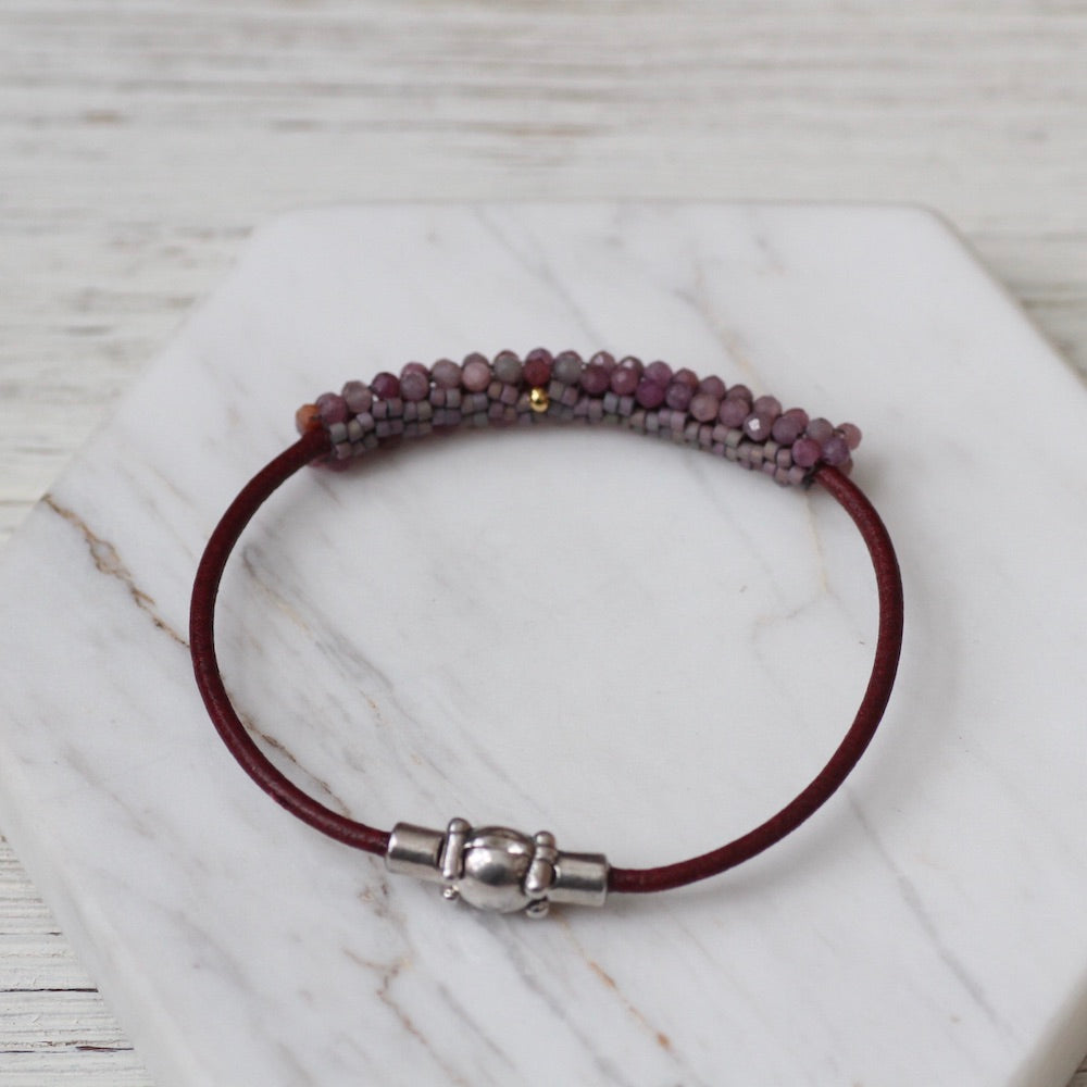 Small Rubies Hand Stitched Bracelet