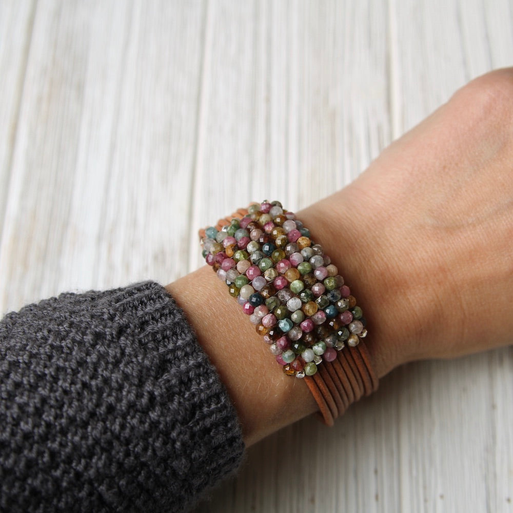 Multi Colored Tourmaline Hand Stitched Leather Cuff