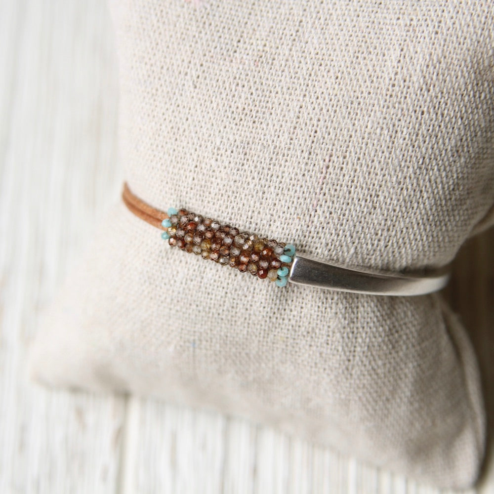 Rust and Brown Zircon Hand Stitched Leather 1/2 Cuff