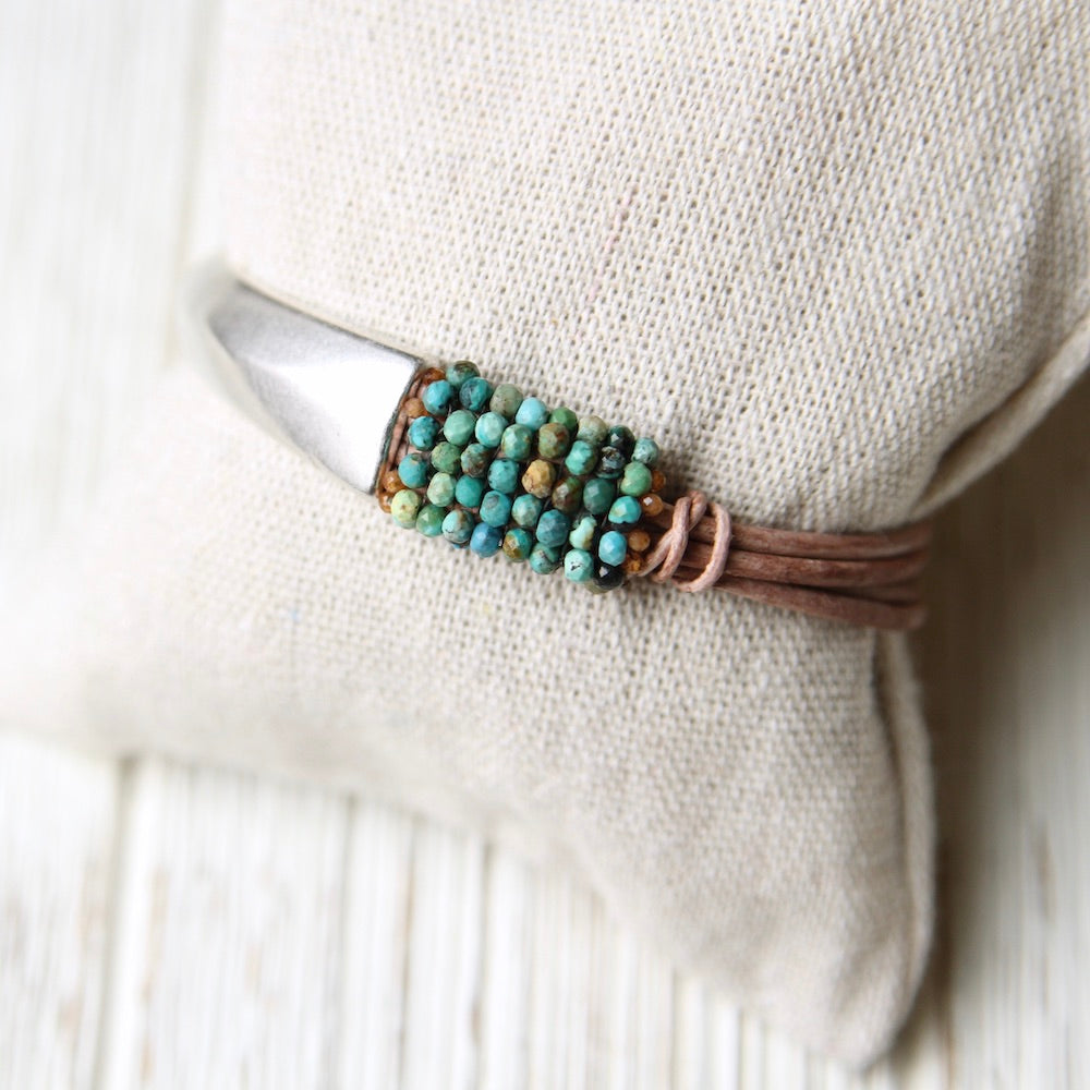 Multi Color Turquoise Hand Stitched Leather 1/2 Cuff