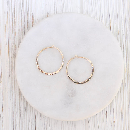 Thin 25mm Gold Filled Hammered Hoop