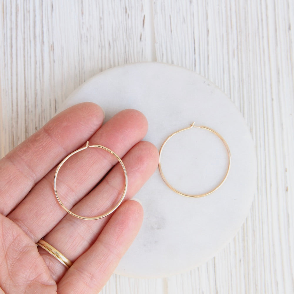 Thin 30mm Gold Filled Hoop