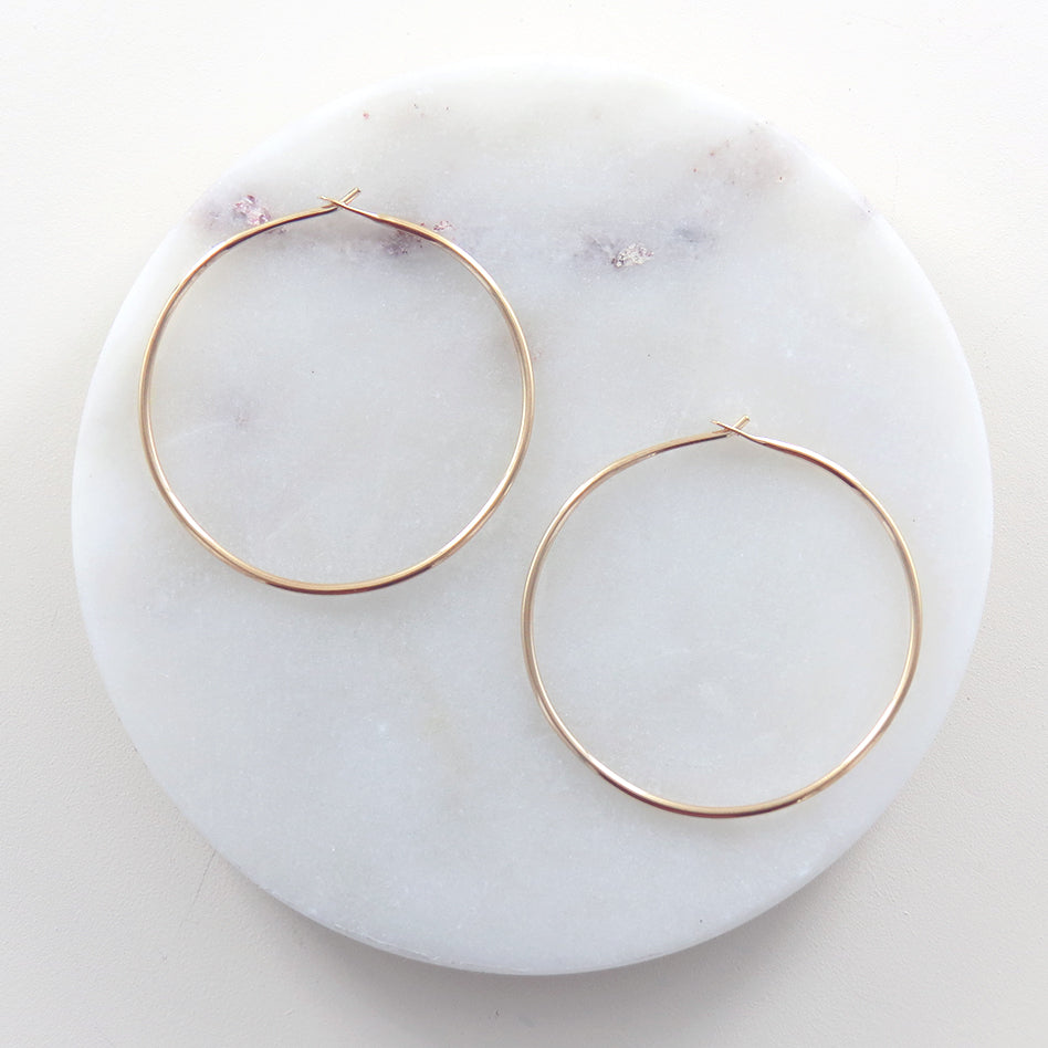 Thin 40mm Gold Filled Round Wire Hoop