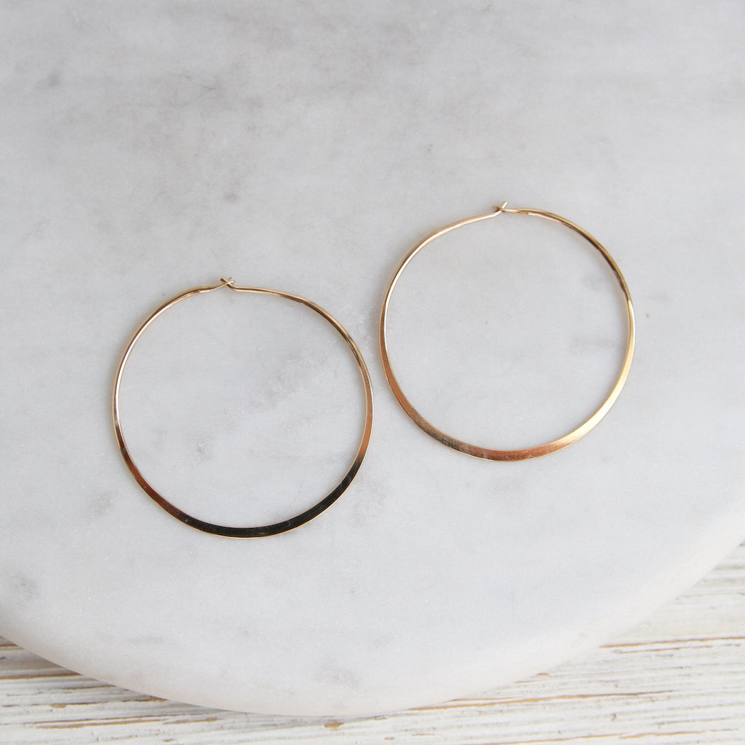 Thin 40mm Gold Filled Flat Wire Hoop