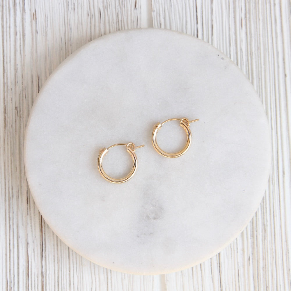 Thick 15mm Gold Filled Tube Hoop