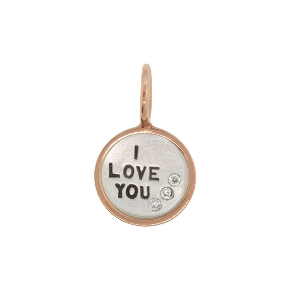 "Silver ""I Love You"" Mini Charm with 3 Diamonds & Rose Gold Frame"