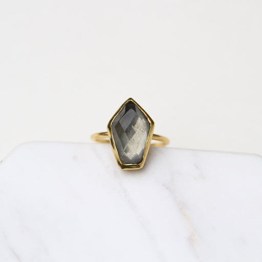 Pyrite Mid Stone Adjustable Ring