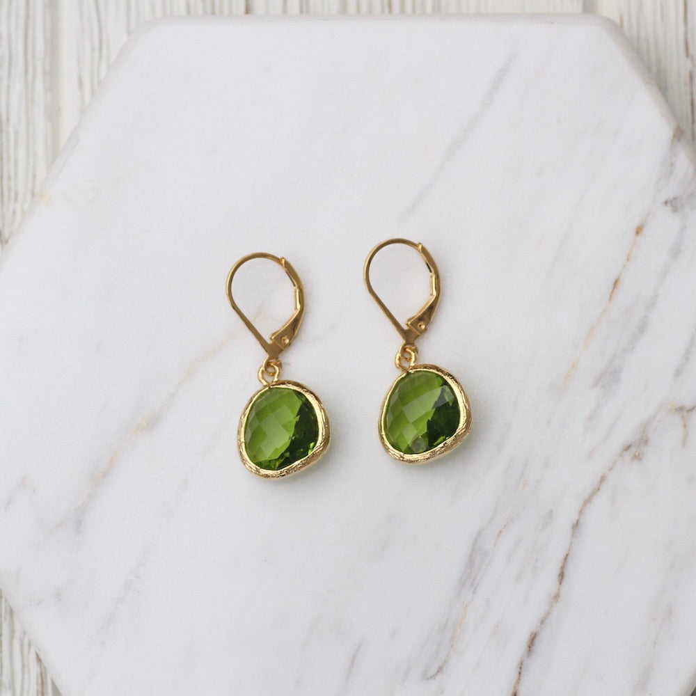 GOLDPLATED LEVERBACK GEM DANGLE EARRING - MOSS
