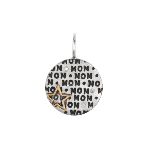 "All Over Stamped ""Mom"" Charm with Gold Star & Diamonds"