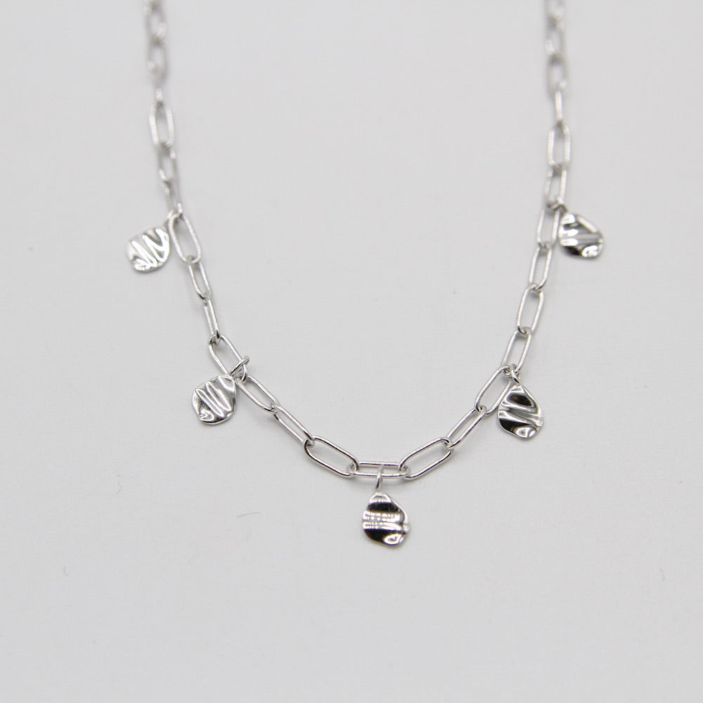 Silver Crush Drop Discs Necklace