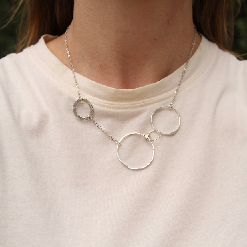 Random Sterling Silver Circles Necklace