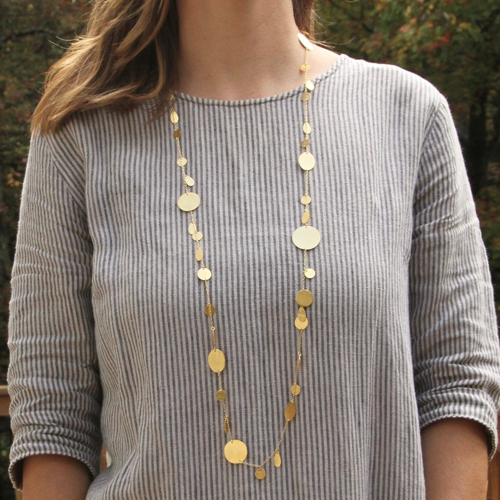 Long Chain with Flat Disc Stations Necklace