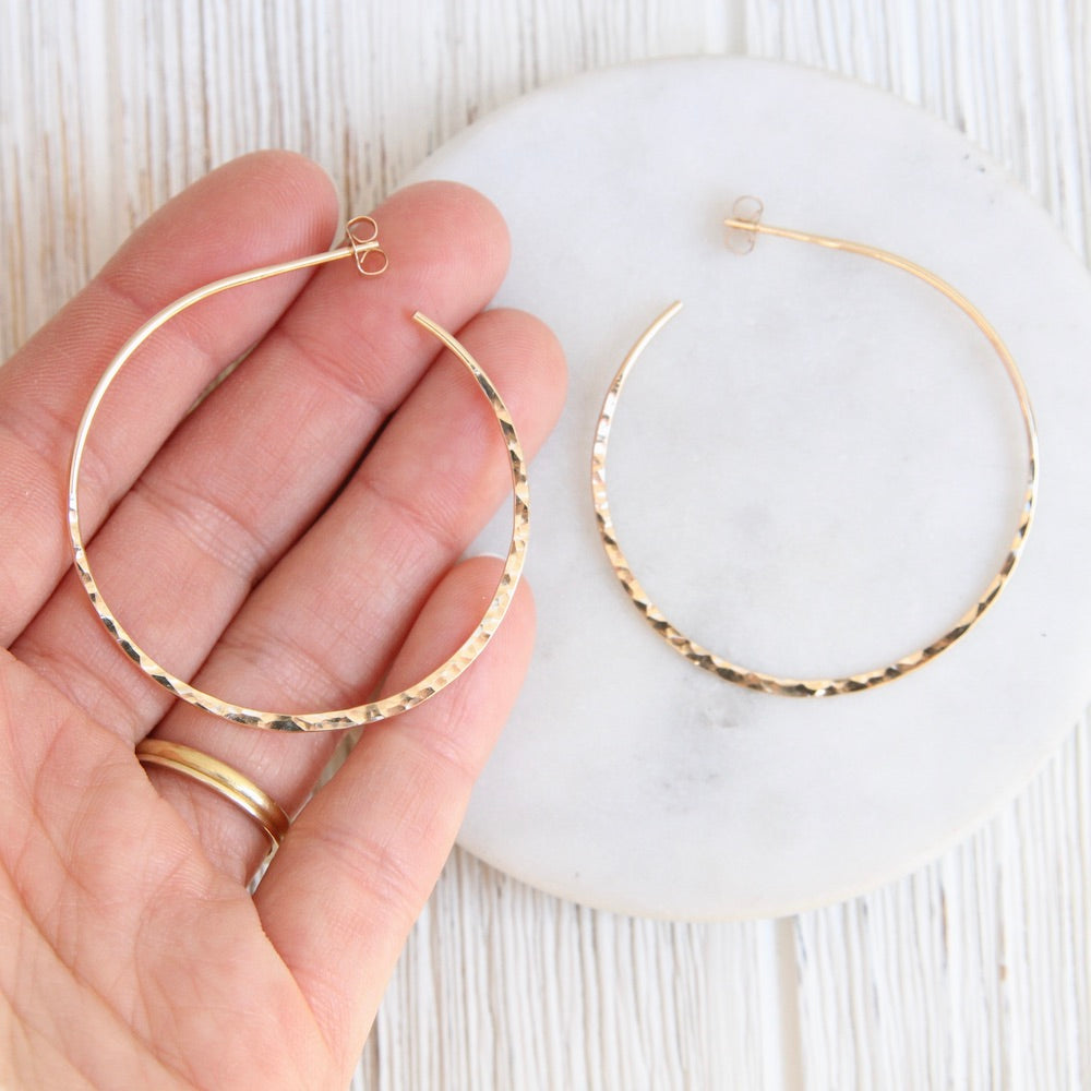 Thin 45mm Gold Filled Hammered Hoop