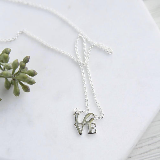 Silver Polished Mini LOVE Sculpture Necklace