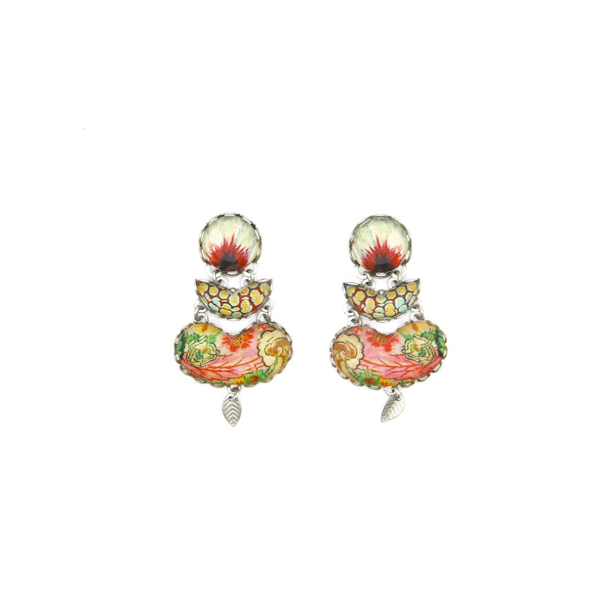 Triple Oval Drop Post Earring - Coral Cave