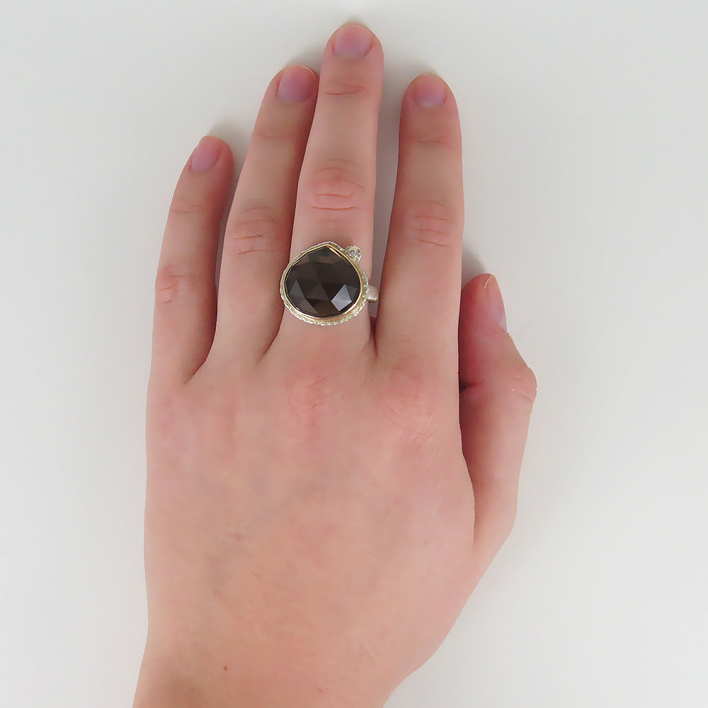 JAMIE JOSEPH LOTUS ROSE CUT SMOKEY QUARTZ RING