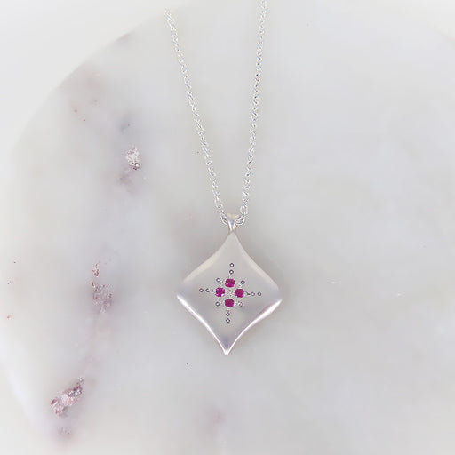 SILVER NIGHT RUBY PENDANT