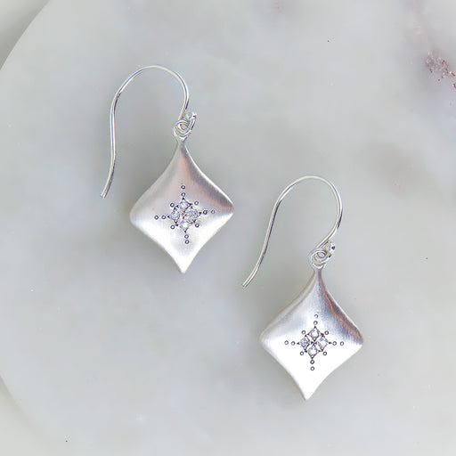 SILVER NIGHT DIAMOND EARRING