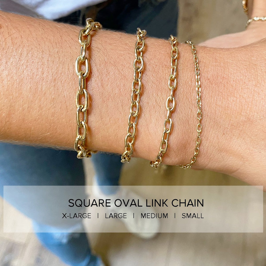14k Gold Extra Large Square Oval Link Chain Bracel
