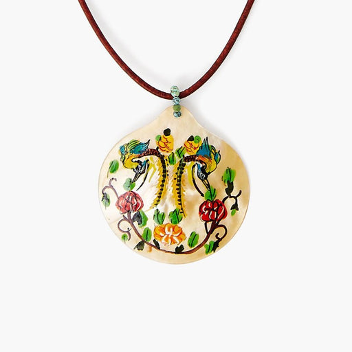Hand Painted Shell Necklace ~ Dancing Birds