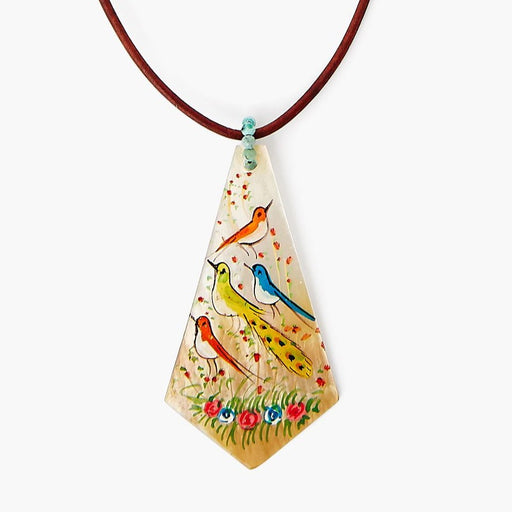 Hand Painted Shell Necklace ~ Birds