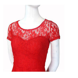 Floral Lace Short SLeeve Mini Dress for Women