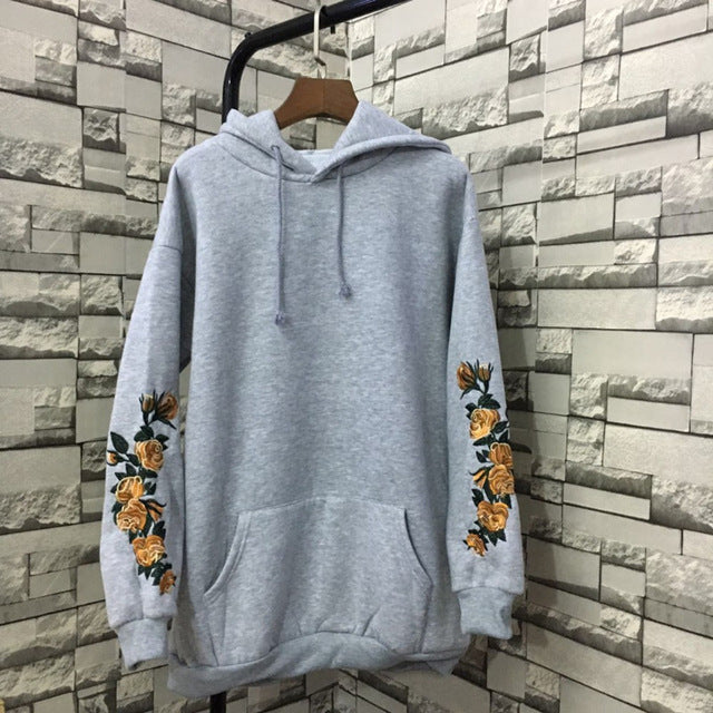 Flowers Embroided Sweatshirt for Women