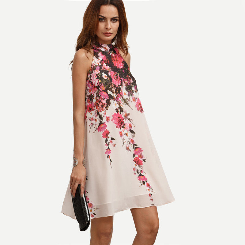 Round NEck Floral Dress for Women