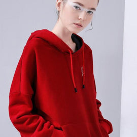 Embroidery Fleece Hoodie for Women