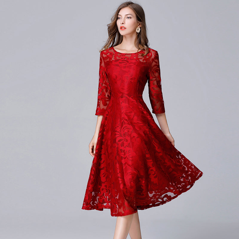 See Through Lace Red Dress for Women Plus Size